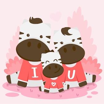 Família zebra feliz posando junto com o texto eu te amo