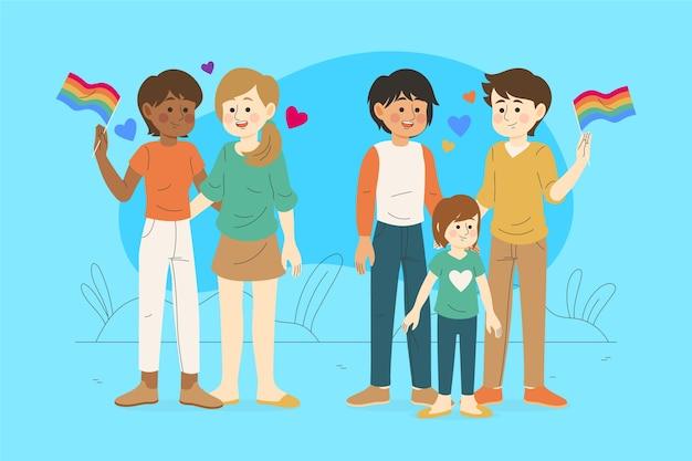 Famílias com crianças comemorando o dia do orgulho