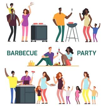 Famílias de personagem de desenho animado festa churrasco