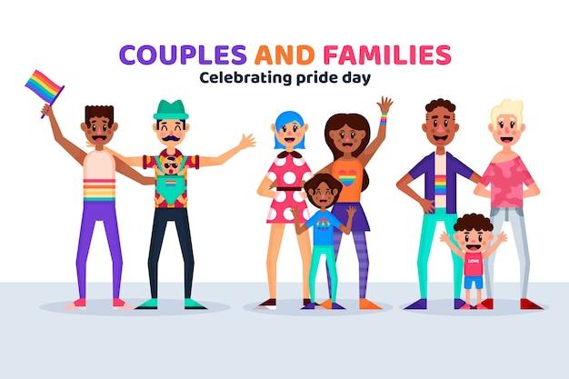 Famílias e casal comemorando o dia do orgulho juntos