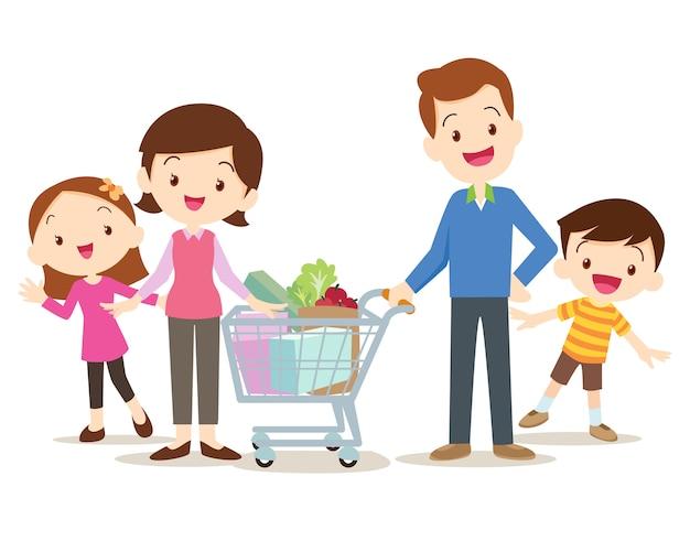 Famílias fofas fazendo compras juntas no mercado