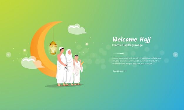 Famílias muçulmanas em peregrinação ao conceito de saudação de eid al adha