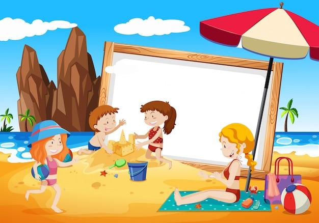 Famílias no quadro de praia