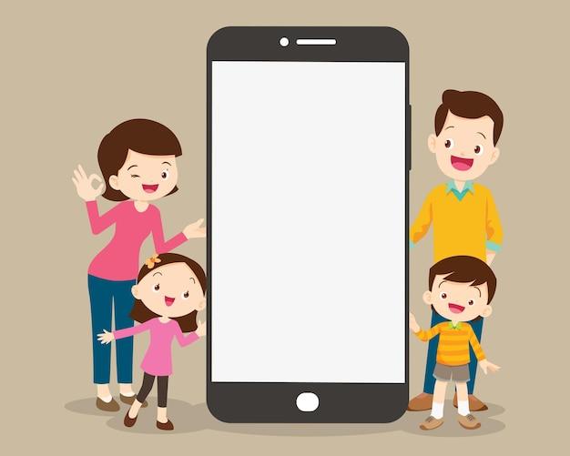 Famílias usando aplicativos móveis, mídia familiar e online, compras, comunicação, videochamadas, educação