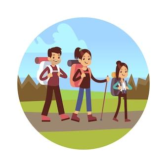 Family hiking illustration mãe pai e filha