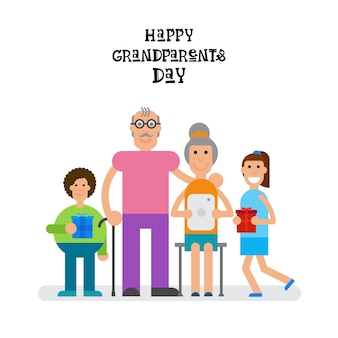 Family together happy grandparents dia cartão de saudação banner