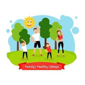 Familys, saudável, estilo vida, ilustração