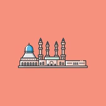 Famosa construção de mesquita e ponto turístico em kota kinabalu sabah, malásia