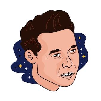 Famoso fundador, ceo e empresário elon musk vector portrait. isolado em um fundo branco. elon musk vector cartoon doodle retrato de rosto