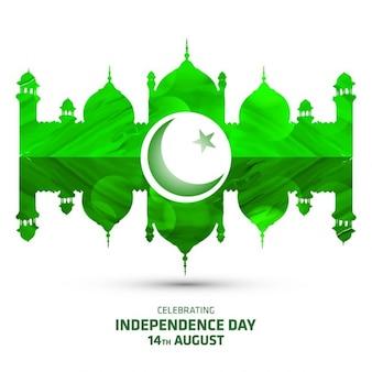Famoso monumento paquistão no dia da independência verde
