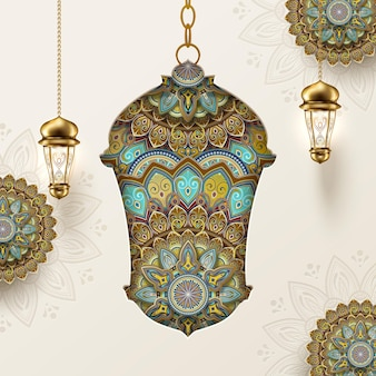 Fanoos com padrão arabesco em fundo bege claro