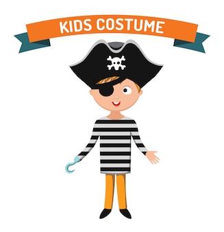 Fantasia de criança pirata isolado ilustração vetorial