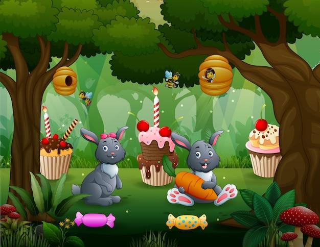 Fantasia de doce fundo de floresta com coelhos sentados