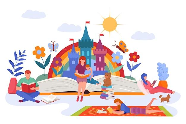 Fantasia de família por livro de histórias