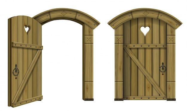 Fantasia de porta em arco de madeira antiga
