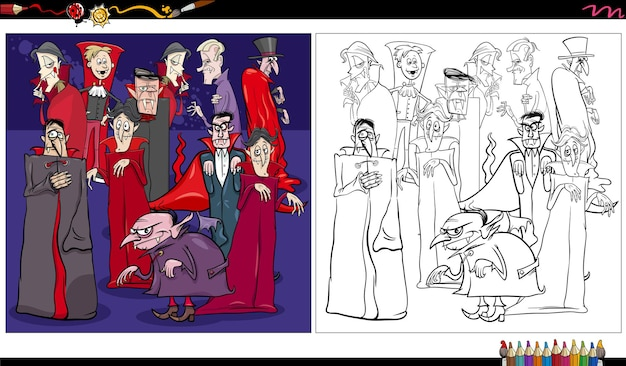 Fantasia de vampiros de desenhos animados ou personagens de quadrinhos de halloween para colorir página