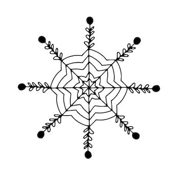 Fantasia desenhados à mão lindo floco de neve. elemento de decoração. monocromático. doodle de vetor