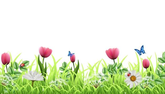 Fantasia fundo verde floral isolado bonito. com grama verde e tulipas cor de rosa com camomila, borboletas e joaninhas. modelo perfeito para o seu conceito de design.