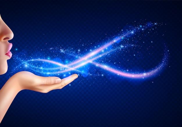 Fantasia mágica com mulher soprando luzes brilhantes da mão realista