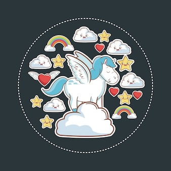 Fantasia mágica do unicórnio com estrela nuvem da estrela do kawaii coração do arco-íris