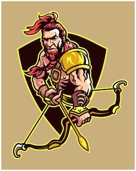 Fantasia mundo arqueiro guerreiro equipe jogo logotipo mascote personagem