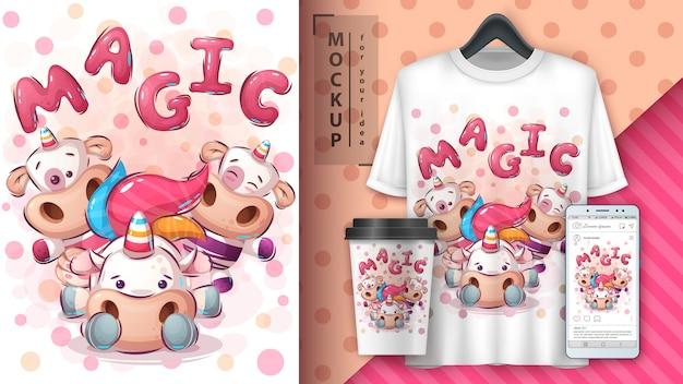 Fantasia vacas ilustração e merchandising