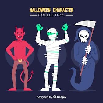 Fantasias para coleção de personagens adultos jovens de halloween plana