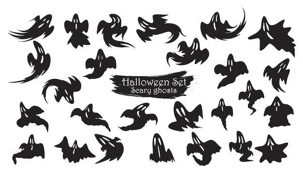 Fantasma assustador voar coleção silhueta de halloween