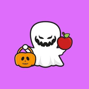 Fantasma bonito segurando a maçã com ilustração do ícone dos desenhos animados de halloween de abóbora. projeto isolado estilo cartoon plana