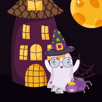 Fantasma com óculos e chapéu de halloween