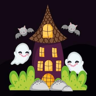 Fantasma da casa e morcegos voando halloween