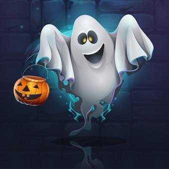 Fantasma de desenho animado com balde de abóbora