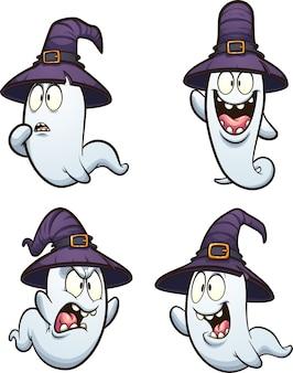 Fantasma de desenho animado de halloween com chapéu de bruxa e diferentes expressões. ilustração de clip art.