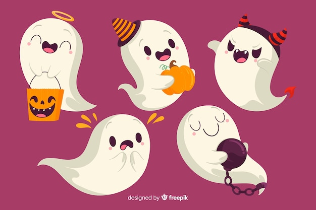 Fantasma de halloween com coleção de trajes