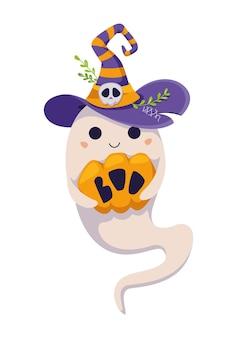 Fantasma de halloween segurando abóbora no chapéu de bruxa. ilustração vetorial de desenho animado