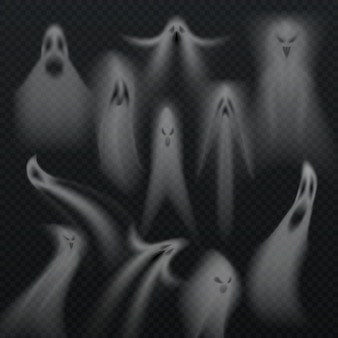 Fantasma de halloween transparente assustador isolado vector set. horro almas demoníacas do mal