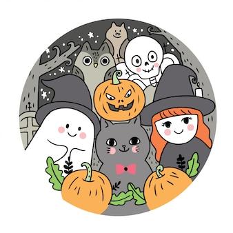 Fantasma e gato e bruxa e esqueleto e coruja e morcego e abóbora à noite