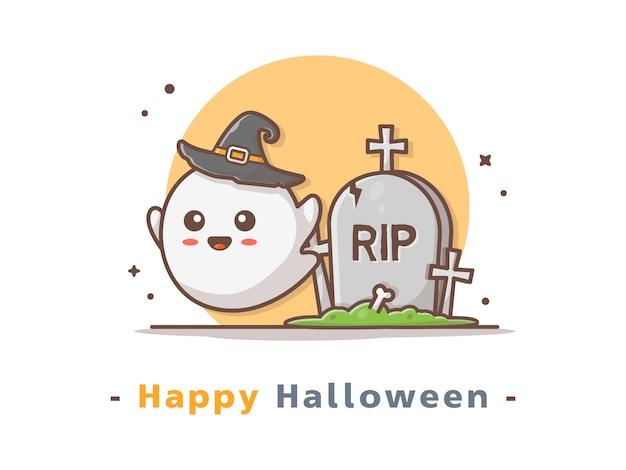 Fantasma fofa com ilustração de halloween de lápide
