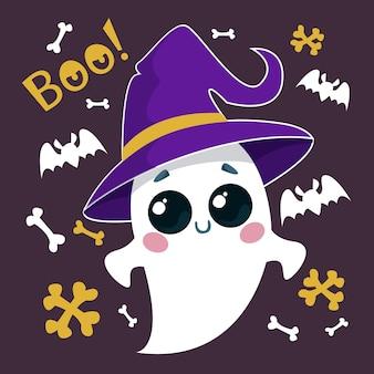 Fantasma fofinho com um chapéu com bruxas e morcegos ilustração em vetor de um personagem de halloween