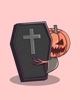 Fantasma segurando caixão de halloween personagem fofinho e assustador