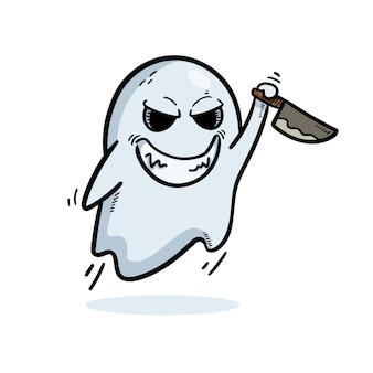 Fantasma segurando um desenho de faca isolado no branco