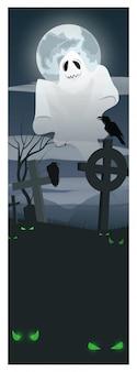 Fantasma voando sobre ilustração de cemitério