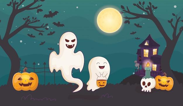 Fantasmas abóbora e velas crânio dia das bruxas
