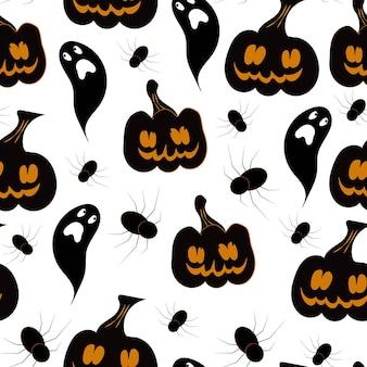 Fantasmas assustadores e abóboras com padrão sem emenda de aranhas halloween desenhado à mão vetor de desenho