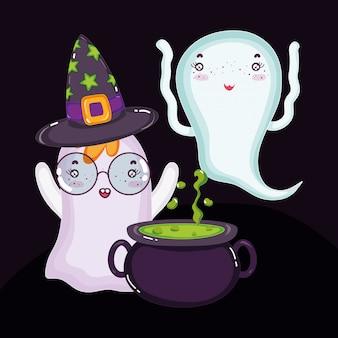 Fantasmas com chapéu e caldeirão halloween