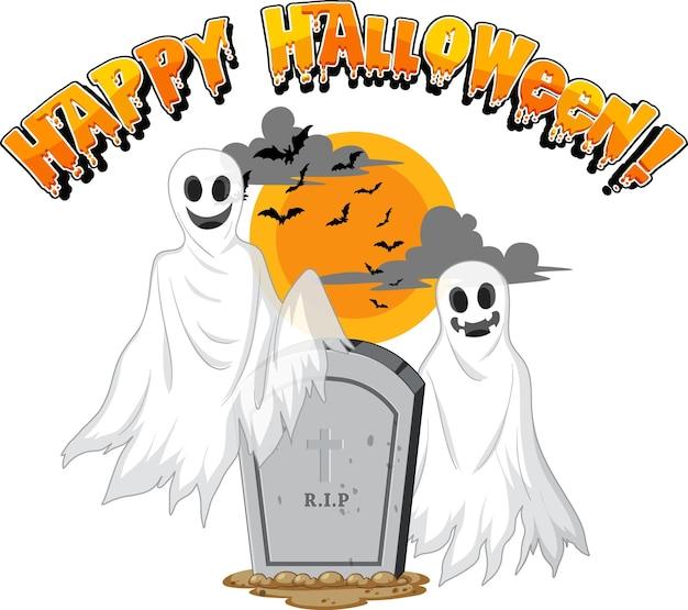 Fantasmas de halloween com lápide em fundo branco