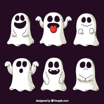 Fantasmas de halloween desenhados a mão