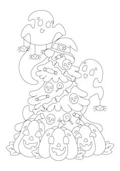 Fantasmas e abóboras decoram a árvore do dia das bruxas. página do livro para colorir para crianças