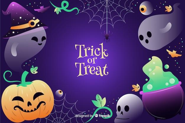 Fantasmas e elementos de halloween gradiente de bruxaria
