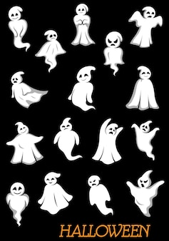 Fantasmas e ghouls brancos de halloween com rostos perigosos para o design do tema do feriado